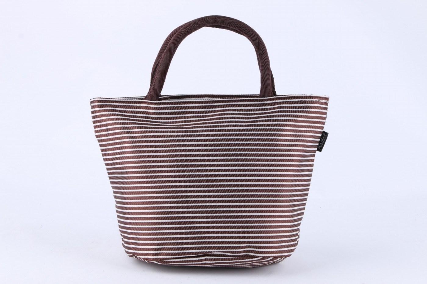 Coffee Stripe Lunch Bag Handbag