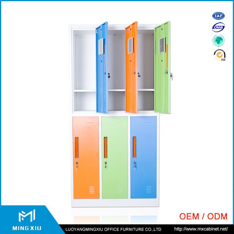 Luoyang Mingxiu Colorful Changing Room 6 Door Luggage Parcel Locker Metal 6 Door Locker for School