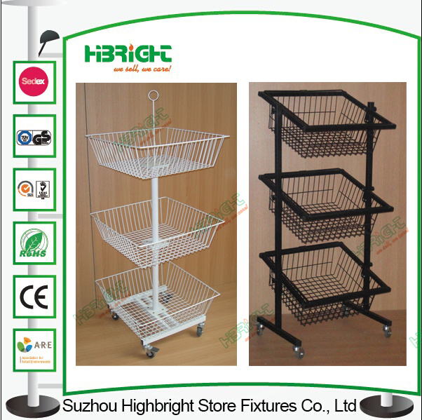 Pop Wire Basket Rolling Floor Display Stand for Snacks