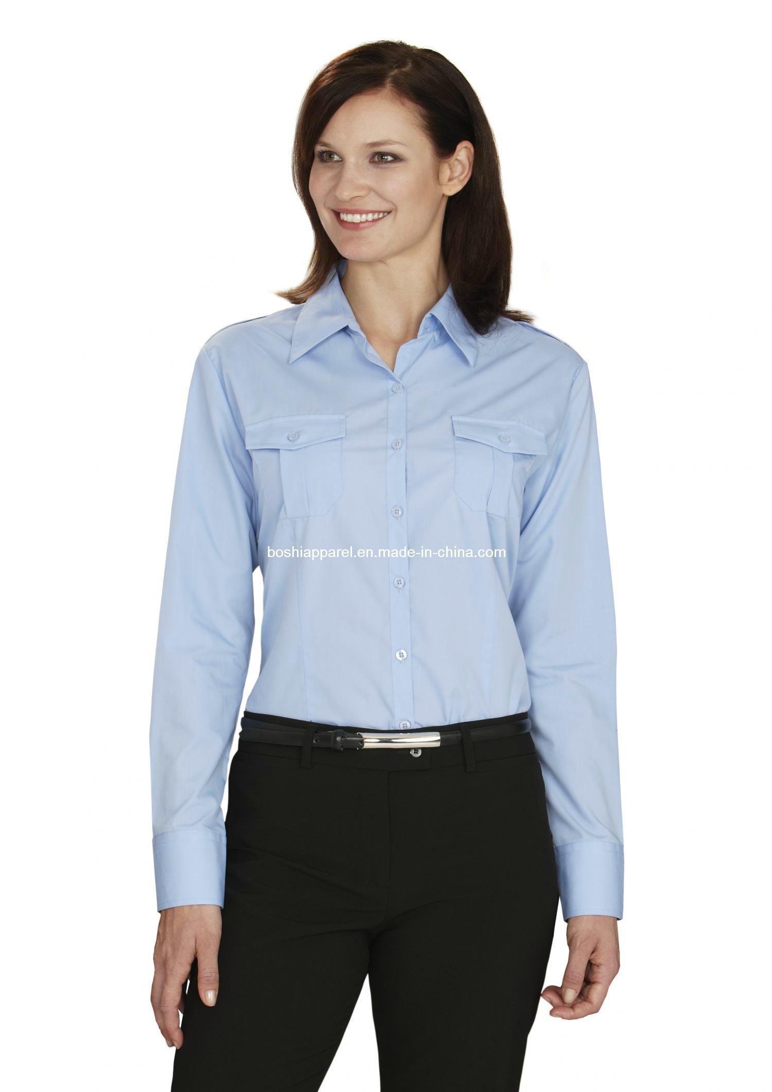 Women′s Work Wear Sky Blue Shirts& Blouses