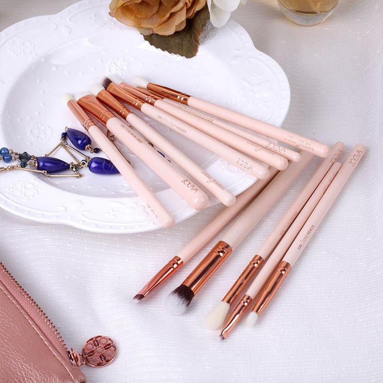 Newest Good Selling Zoeva Golden Brush 12PCS/Set Long Lasting Toothbrush Makeup Brush Makeup Bag Set