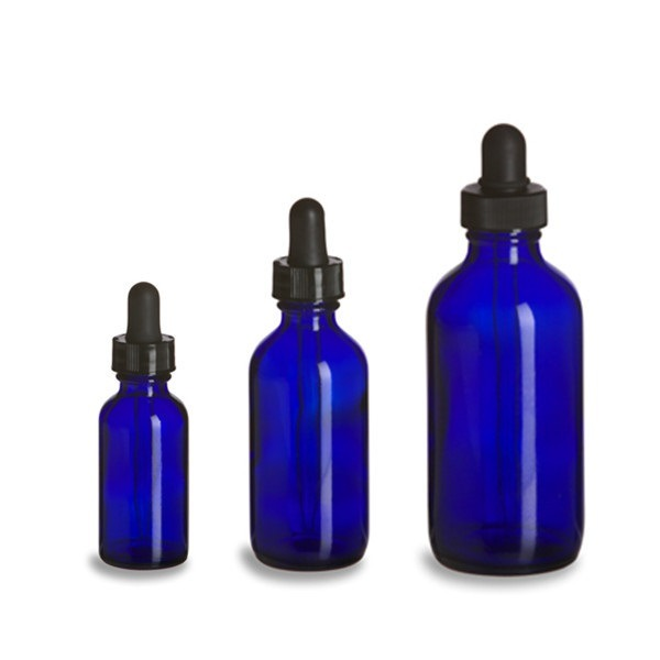1 Oz Cobalt Blue Glass Boston Bottles with Glass Eye Dropper 4oz