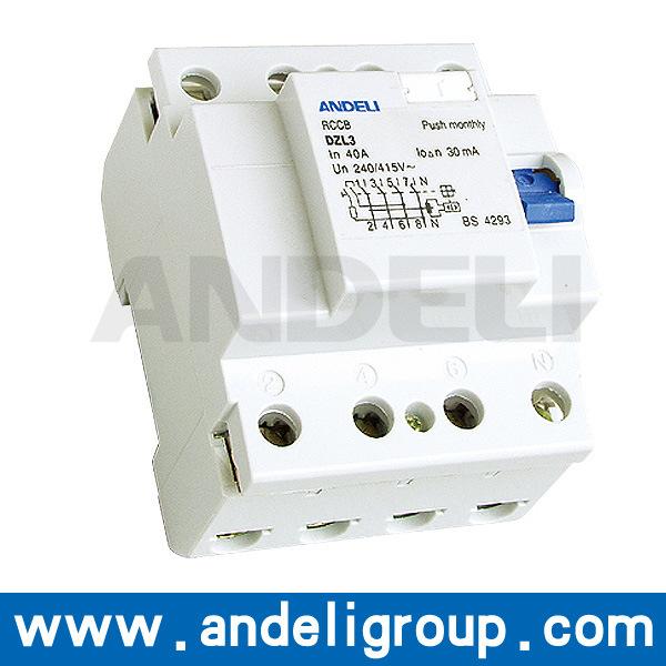 4p 63A RCCB Circuit Breaker (DZL3)