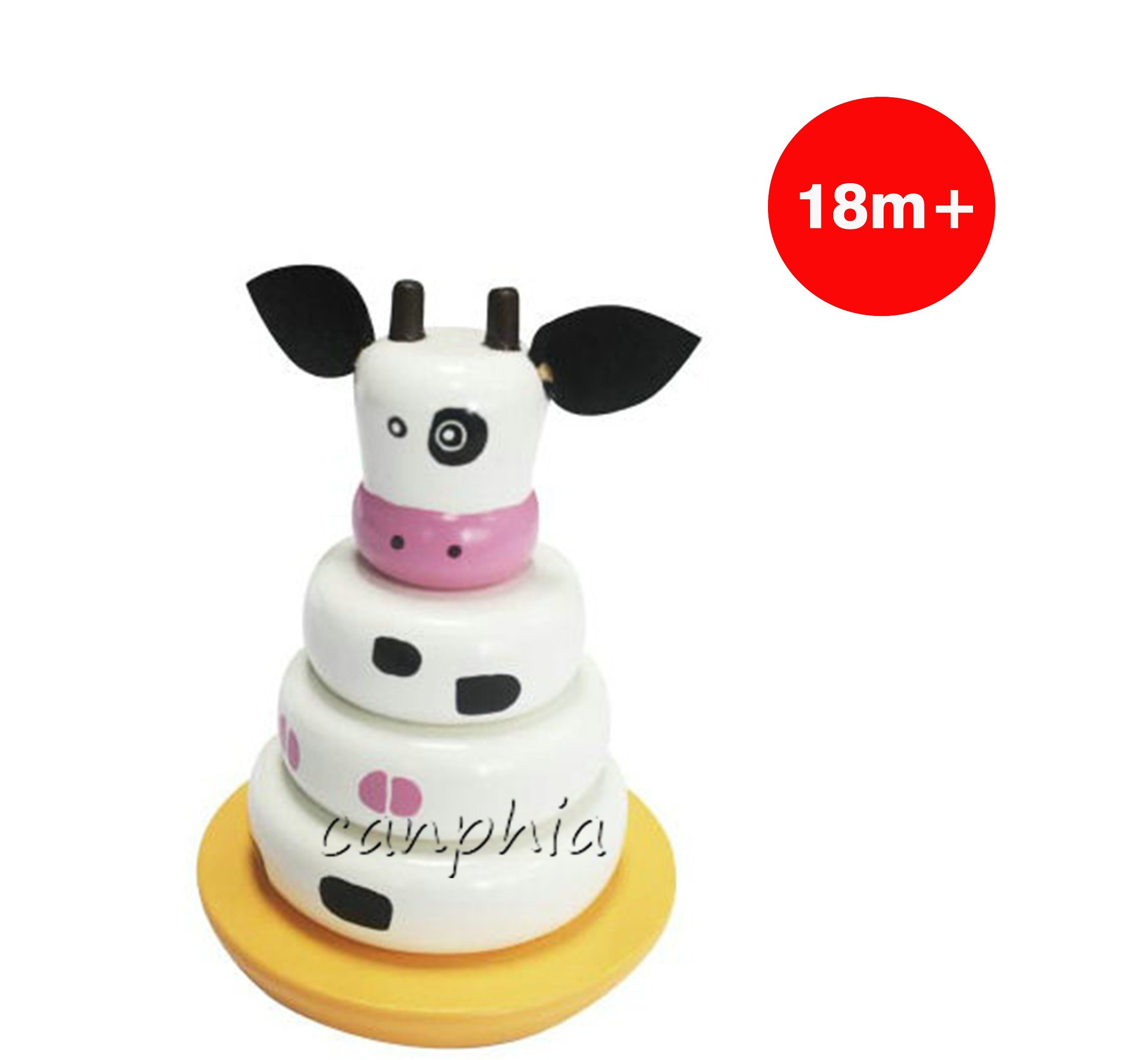 Wooden Children Cow Stacking Stacking Rings Toy