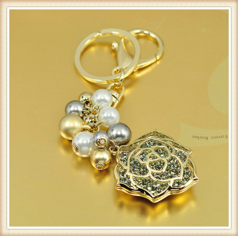 New Design Flower Glass Stones Fashion Jewelry Key Chain