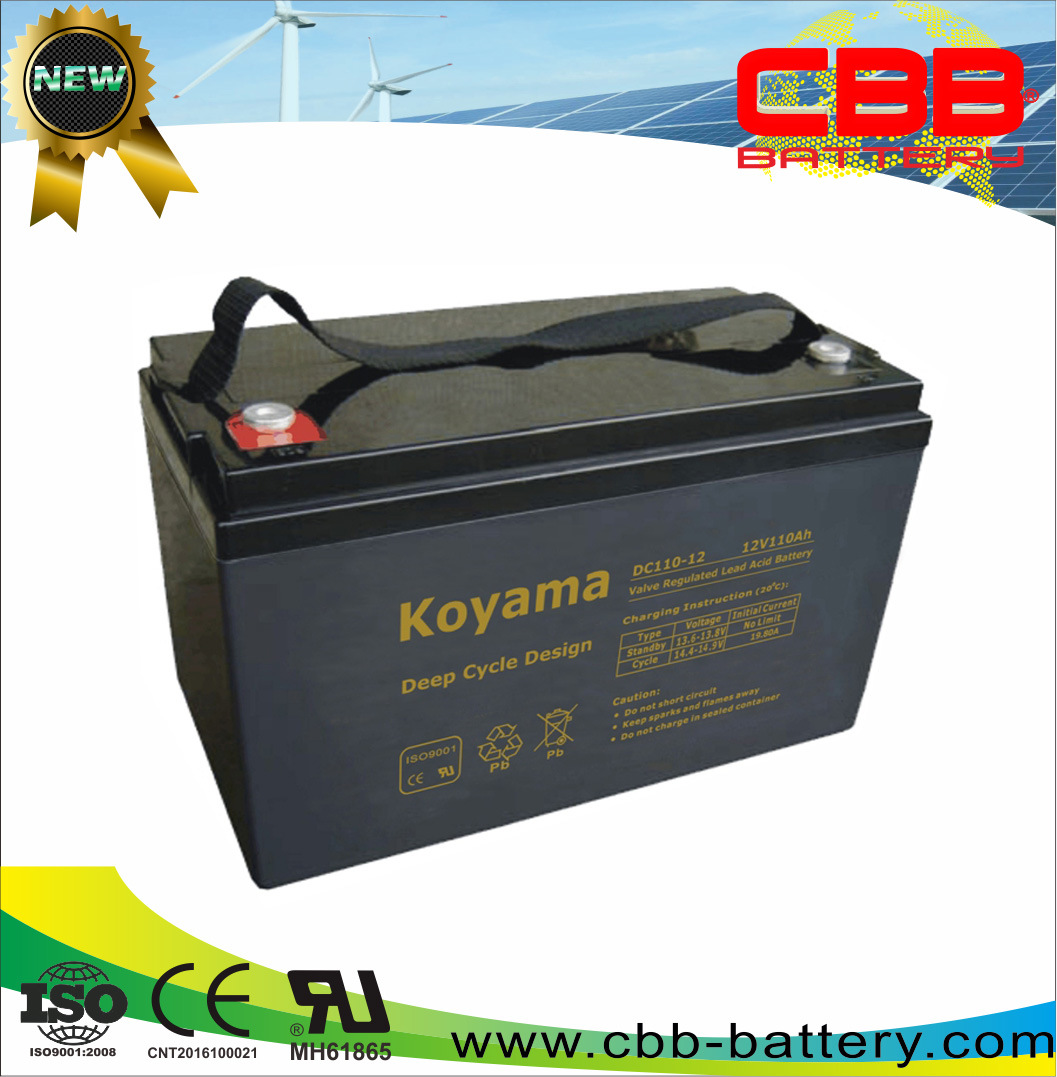12V110ah VRLA Deep Cycle AGM Battery for Solar System DC110-12