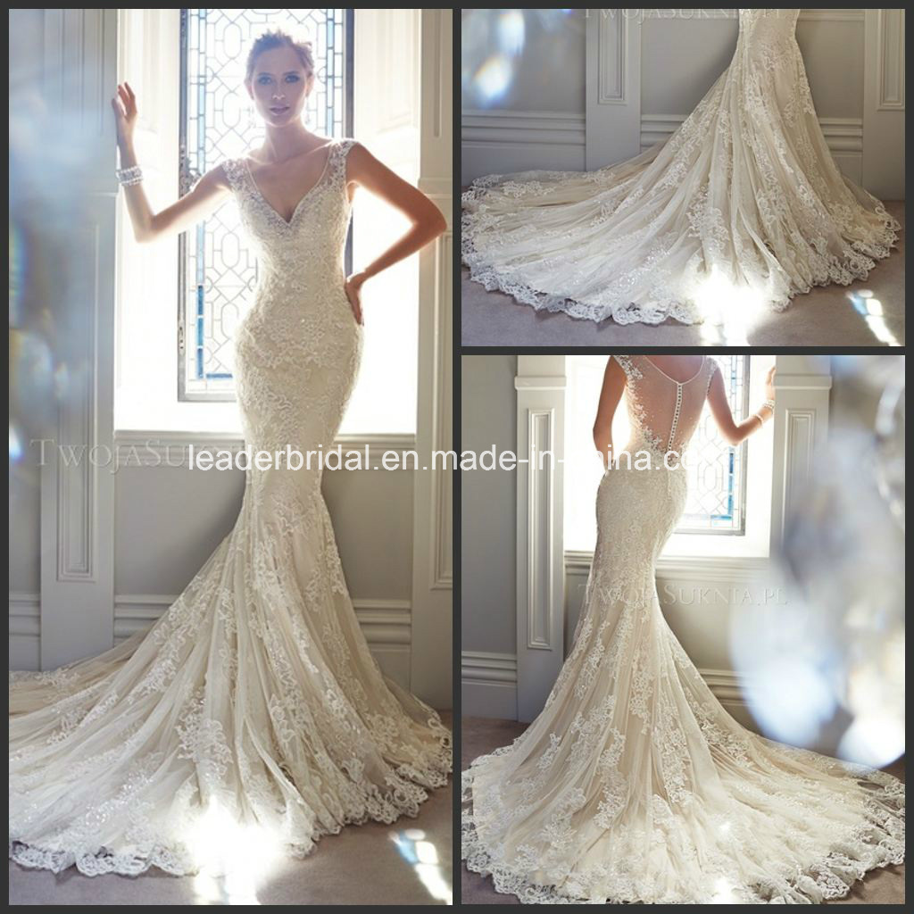 China Lace Bridal Gowns Crystals Fashion Wedding Dress