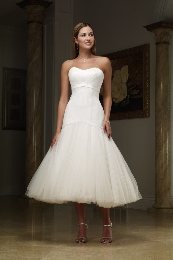 Tea length white wedding dress the dress shop for Cheap wedding dresses tea length