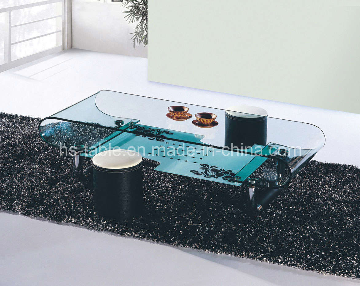 China bent glass table glass coffee table living room for Glass living room furniture