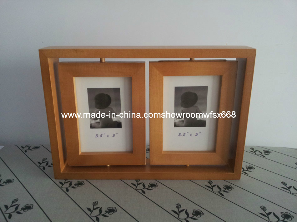 Dual Turnable Wood Photo Frame, Picture Frame, Dual Wood Frame