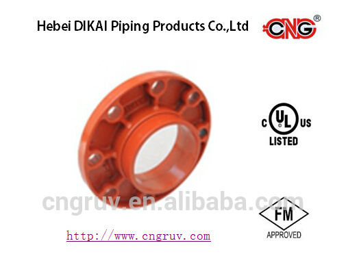 UL FM Approved Ductile Iron Grooved Pipe Fittings and Coupling Flange Adaptor