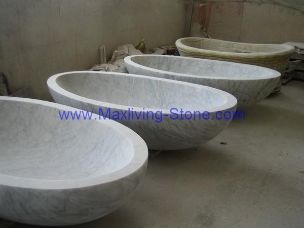 Tinas De Baño De Piedra:Tina de baño blanca de mármol de Carrara – Tina de baño blanca de