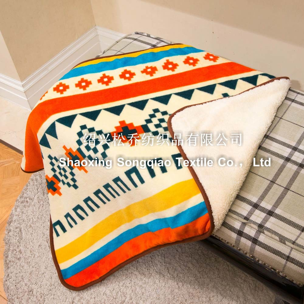 Printed Polyester Sherpa Baby Fleece Blanket / Baby Product