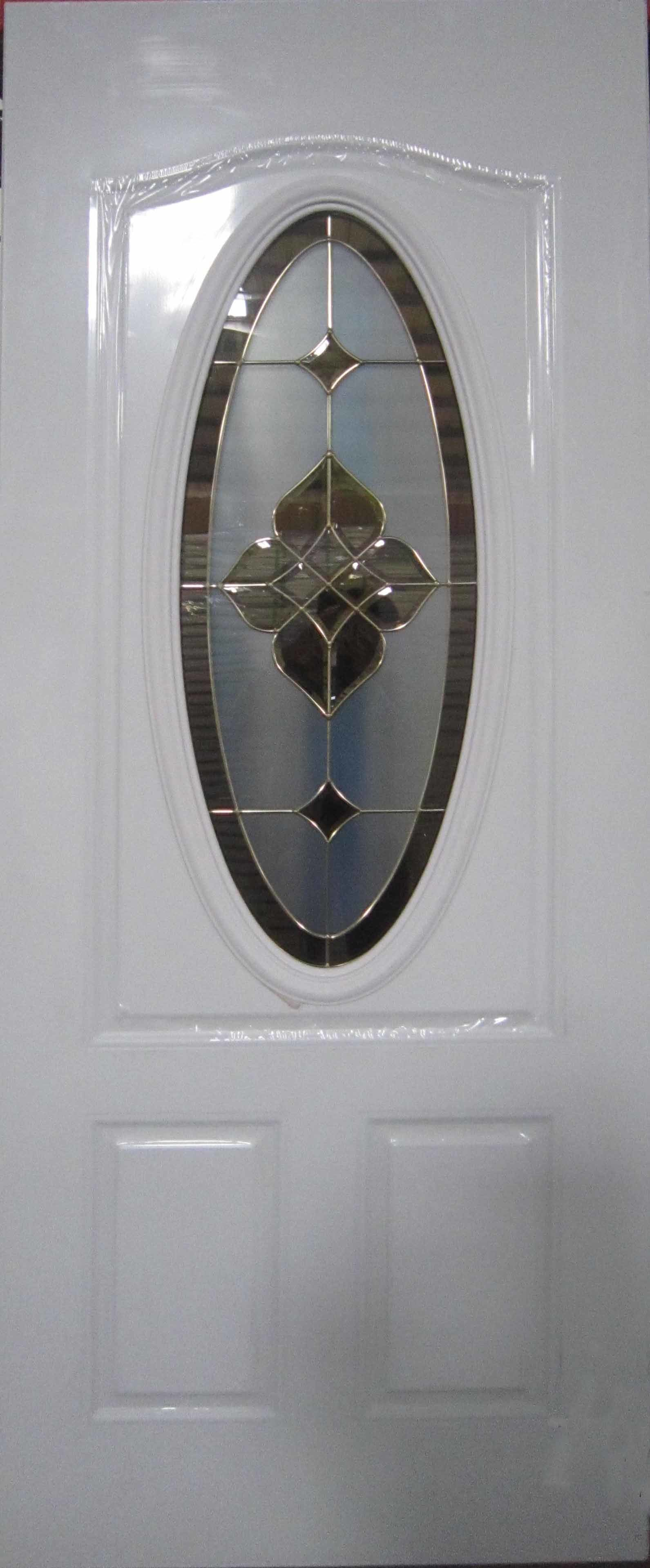 Small Oval Decorative Glass Entry Steel Door