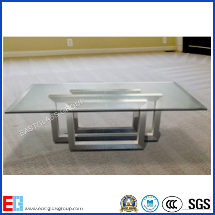 6mm 10mm 12mm Beveled Edge Tabletops Tempered Glass/Toughened Glass with Building/Furniture