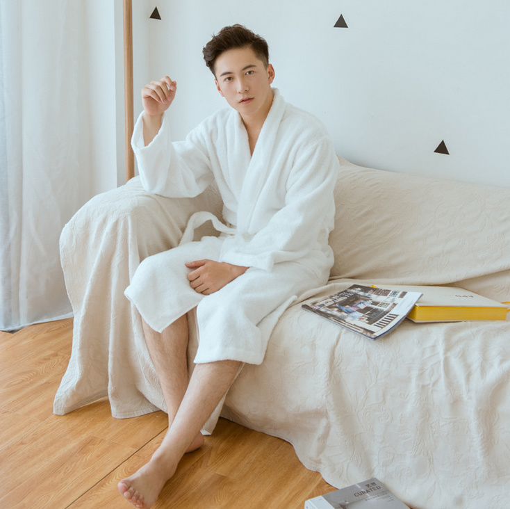 100% Cotton Bathrobe New Design Plain Couple Bathrobe Women and Men Bathrobe