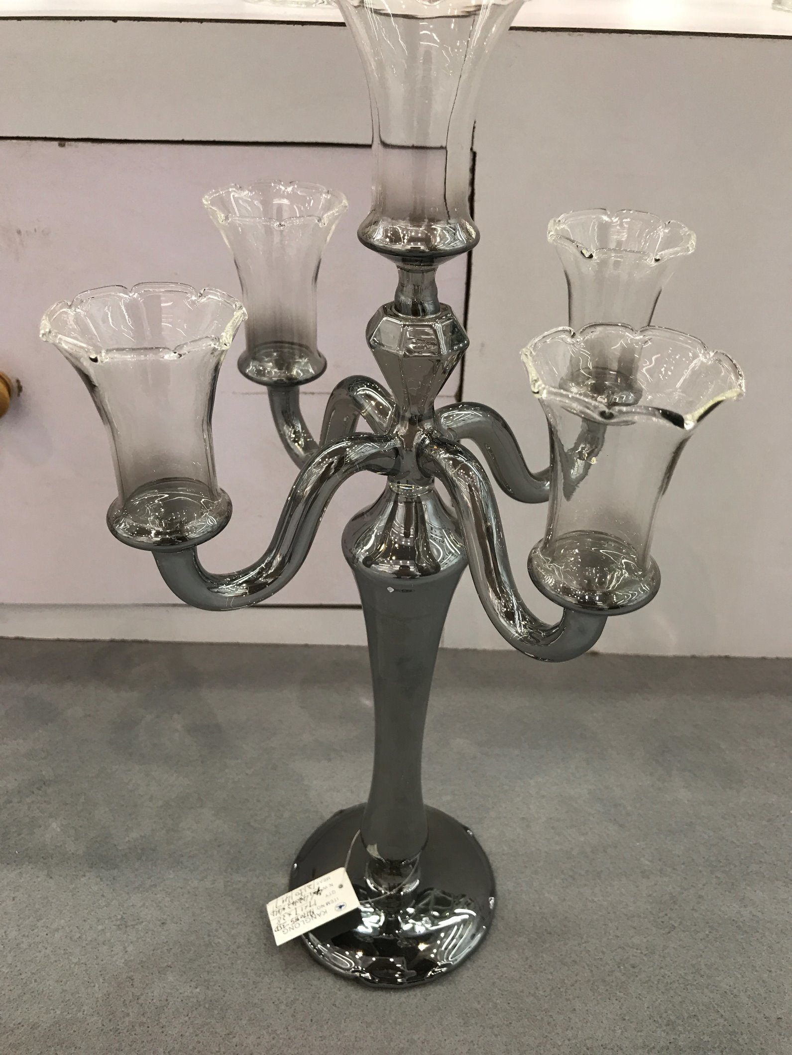 Metallic Siliver Color Glass Candle Holder with Five Poster