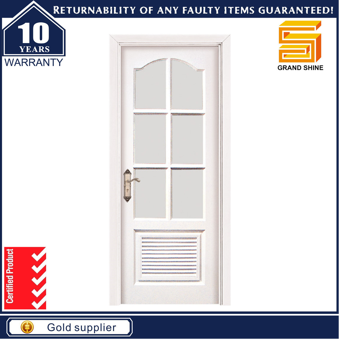 Solid Wooden Interior Composite Wood Door with Glass
