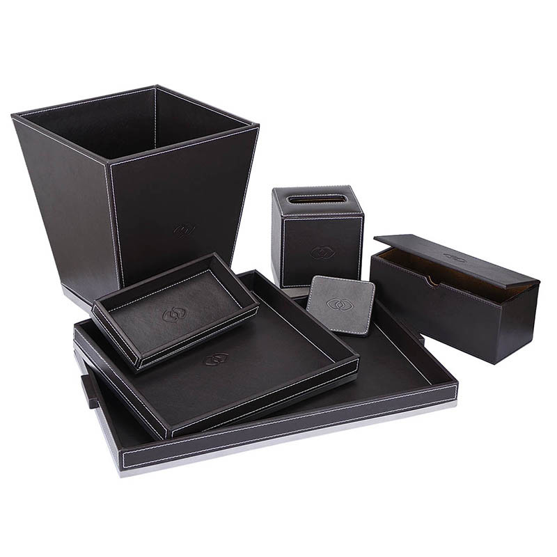 Superior Hotel PU Leather Amenities Tray Serving Tray