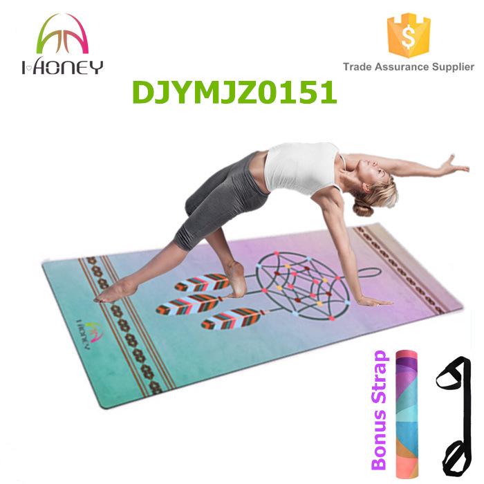 Dreamcatcher Printed Design Yoga Mat Exercise Bikram Pilates with Carrying Strap