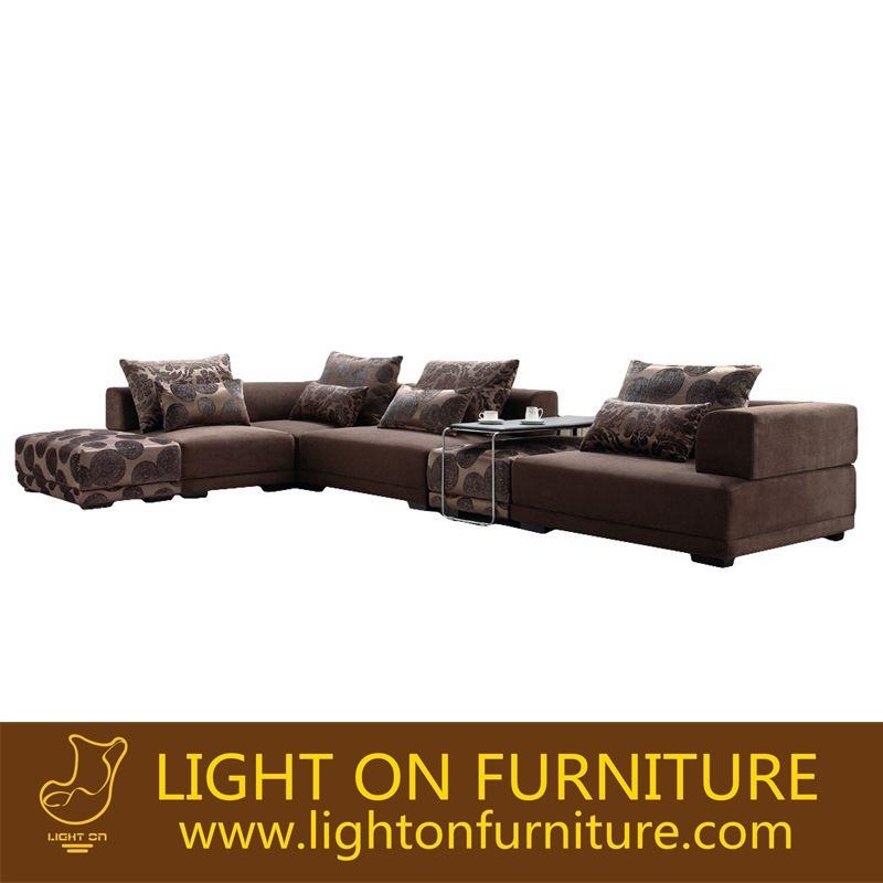 High Density Sponge L Shape Corner Fabric Sofa for Hotel Furniture (F813)