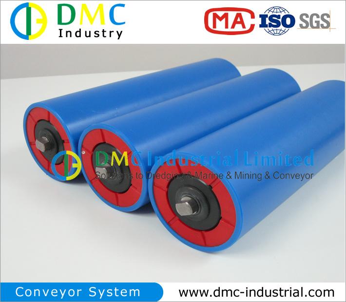 108mm Diameter Conveyor System HDPE Conveyor Idlers Blue Conveyor Rollers