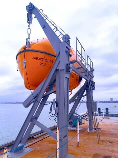 IACS Totally Enclosed Fiberglass Lifeboat with Gravity Luffing Arm Davit