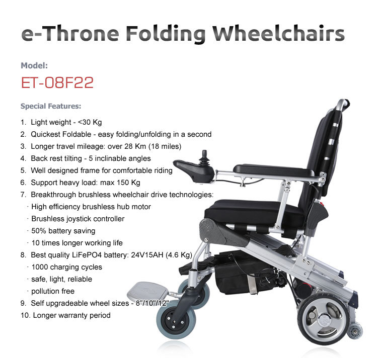 FDA 8 Inch Light Weight Brushlesss Foldable Powerful Electric Wheelchair