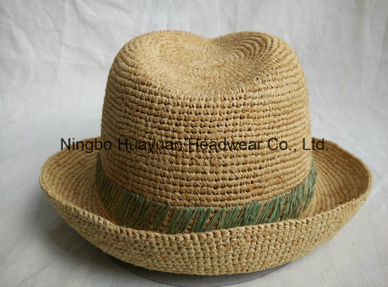 100% Fine Crocheted Raffia Hand Stiches Fedora Straw Hat