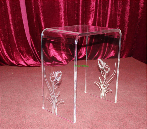 """Deluxe Waterfall Bench Set, Acrylic Furniture, Acrylic Table, Acrylic """" U """" Shape Chair"""