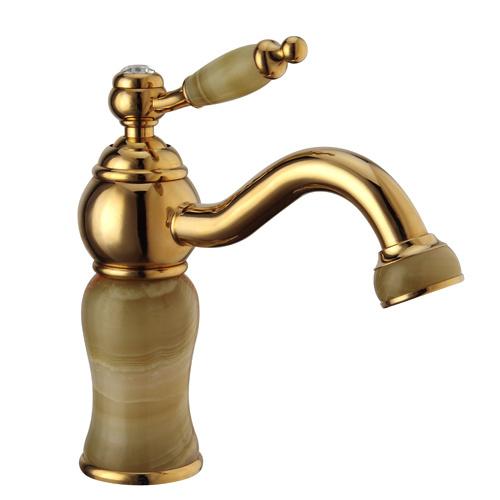 Artistic Brass Imitation Jade Ti-PVD Bathroom Sink Faucet - Golden