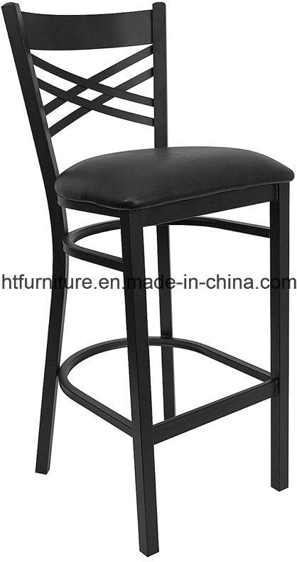 X-Back Metal Restaurant Barstool with Vinyl Seat
