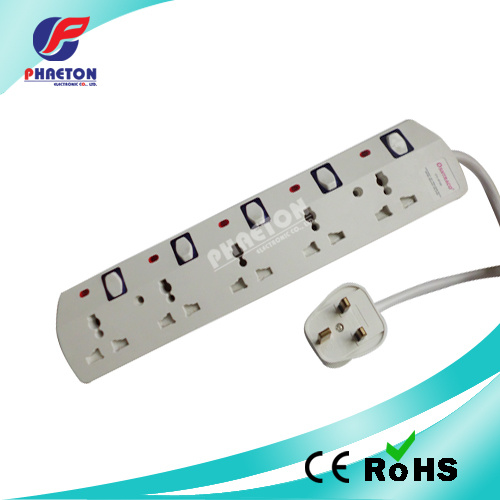 5 Way UK Power Plug Socket with Switch and Indicate Lamp