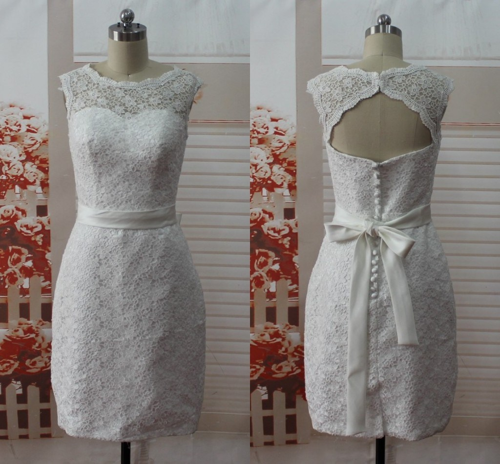 Crew bow sleeveless backless lace sheath bridal wedding for Backless sheath wedding dresses