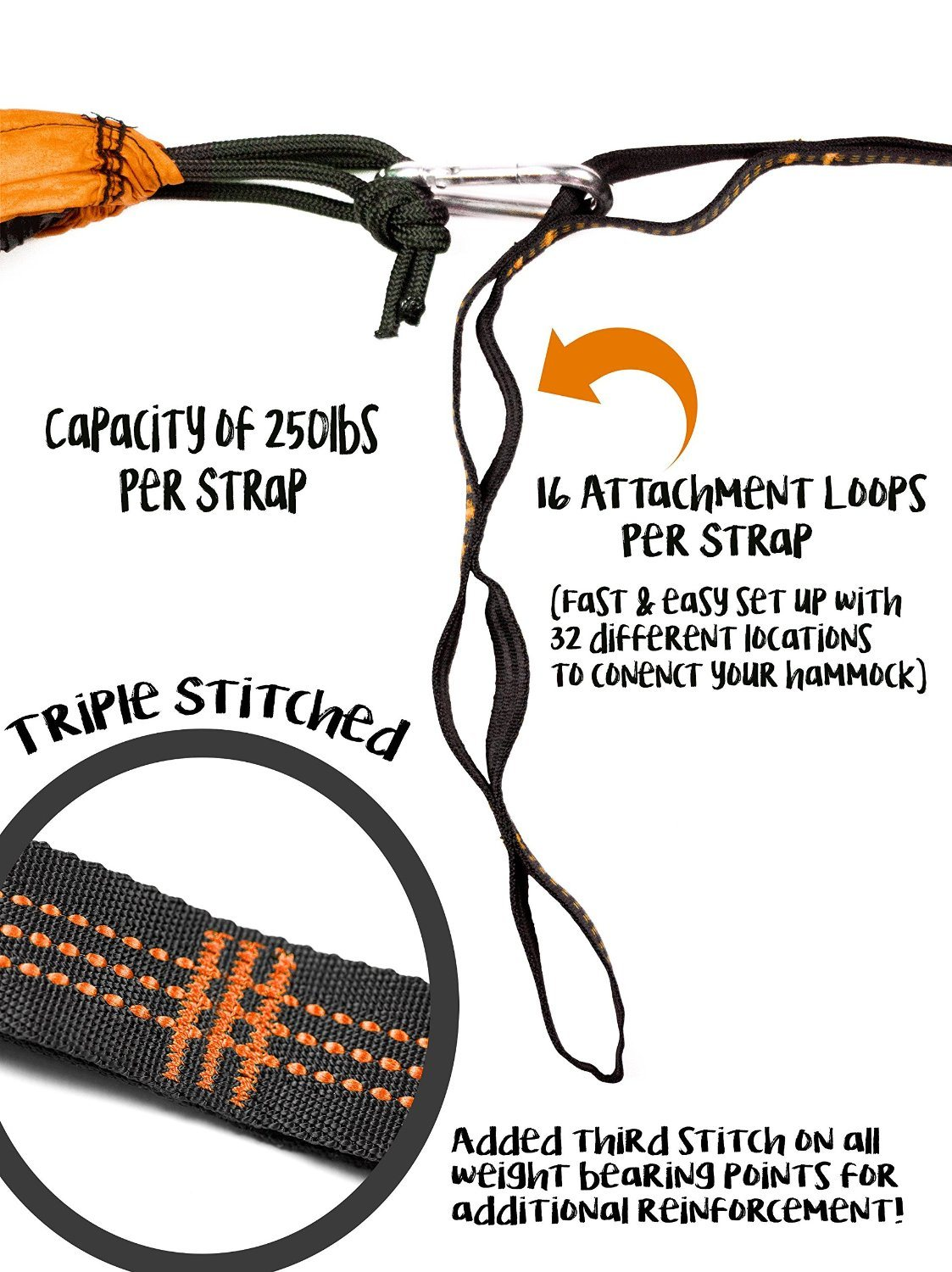 Carries Portable Multifunctional Hammock Tree Straps with Carabiners