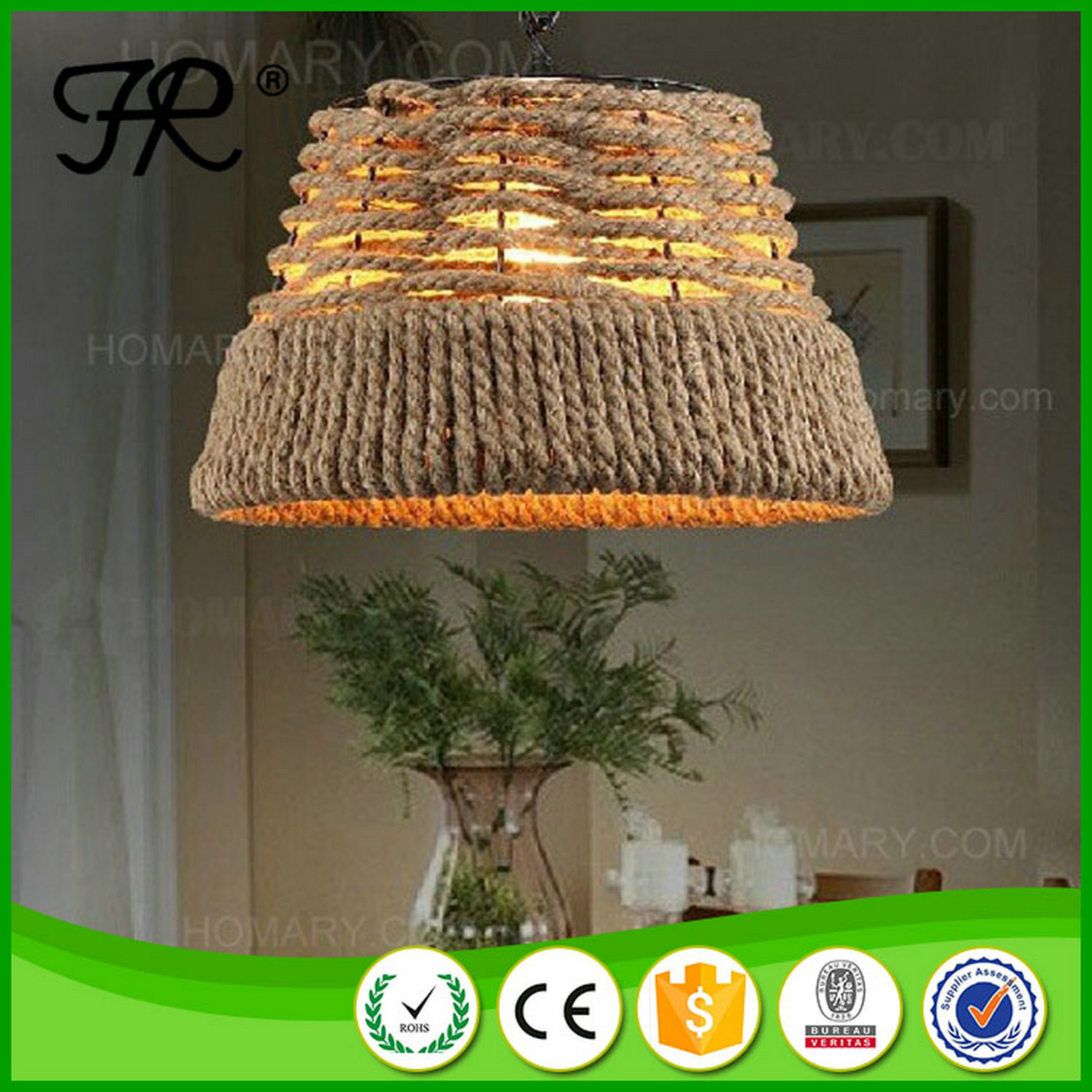 Hemp Rope Pendant Light/Lamp/Lighting with Vintage Style