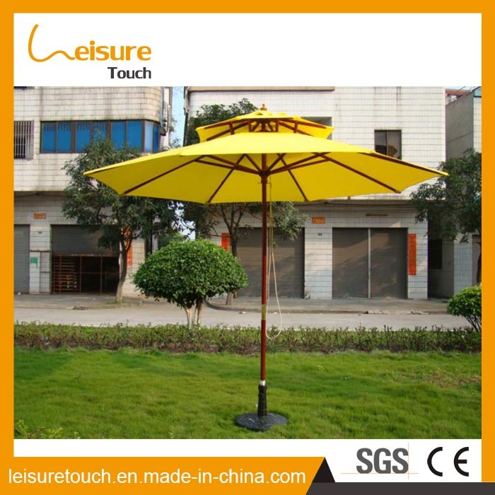 Wooden Frame Outdoor Patio Furniture Two Layers Yellow Color Parasol Garden Sun High Quality Umbrella