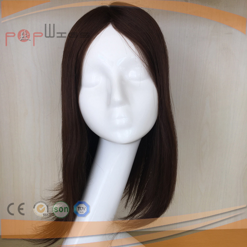 Hand Tied Human Hair Brown Color Poly Around Perimeter Toupee Hair Piece