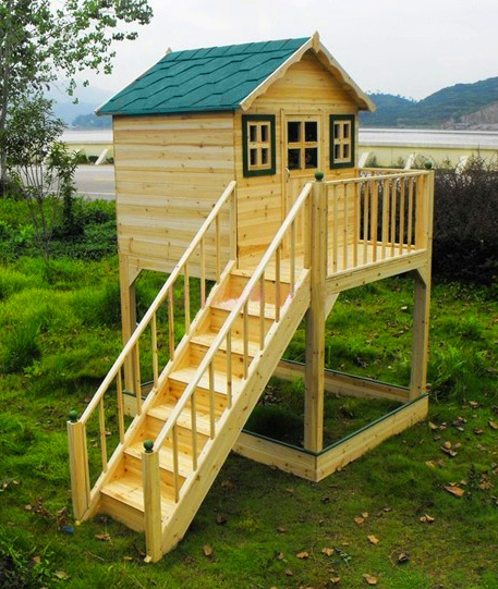 Solid Chinese Fir Children′s Playhouse with Stair Outdoor Playground Equipment