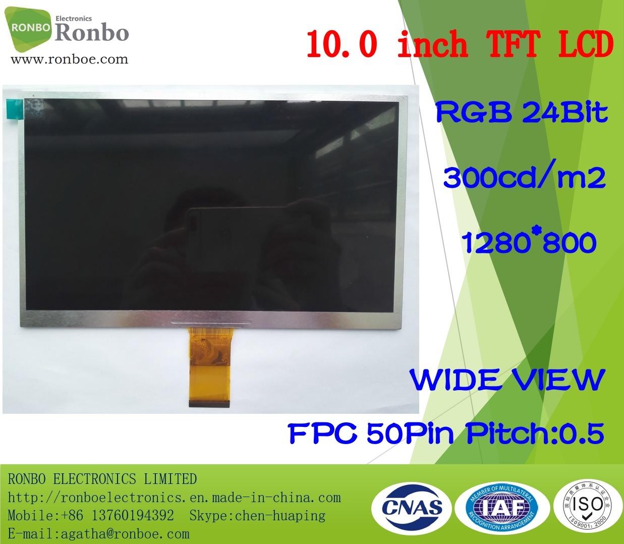 "10.1"" 1024*600 RGB 50pin 300CD/M2 Customized Thin Notebook LCD Panel"