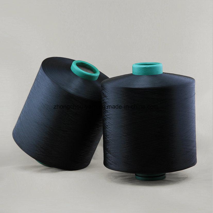 100% Polyester Dope Dyed Black Ddb 150d/36f Nim Yarn