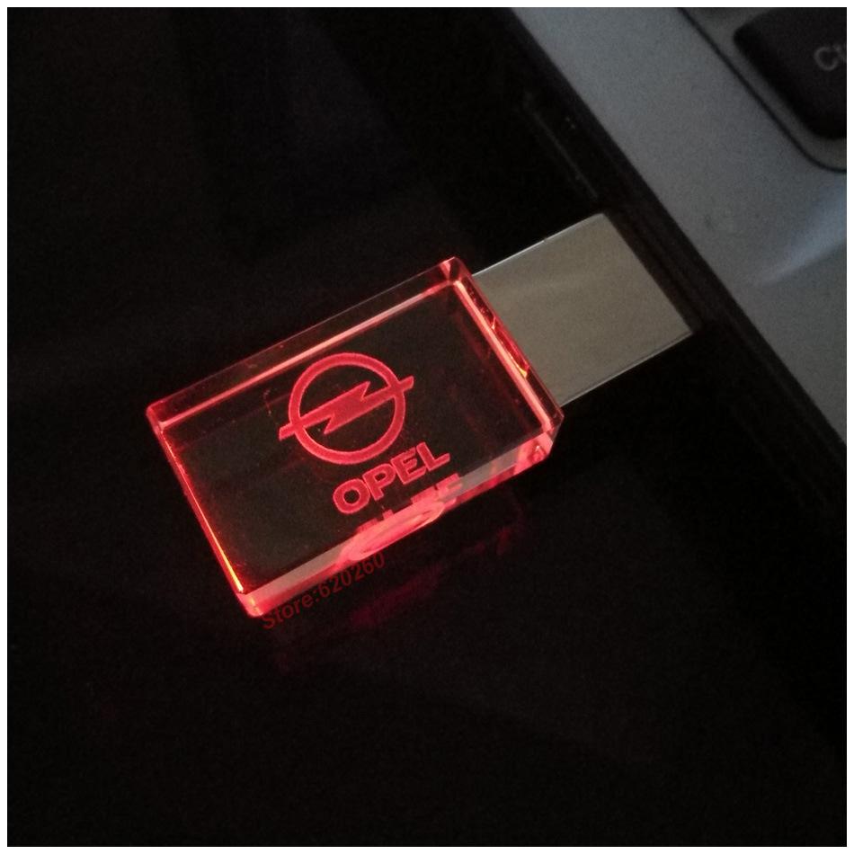 2017 Glass Crystal USB Flash Drive Opel /Nissan Car Logo 4GB 8GB 16GB 32GB USB 2.0 Flash Disk Stick Pen Drive with LED Light
