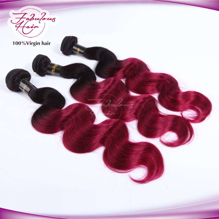 100% Virgin Brazilian Ombre Hair Weft 1b/99j Color Body Wave Hair