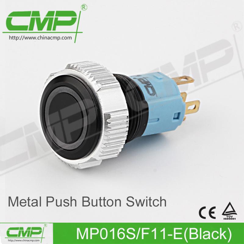 CMP 16mm Black Metal Push Button Switch (MP016S/F11-E/TUV, CE)