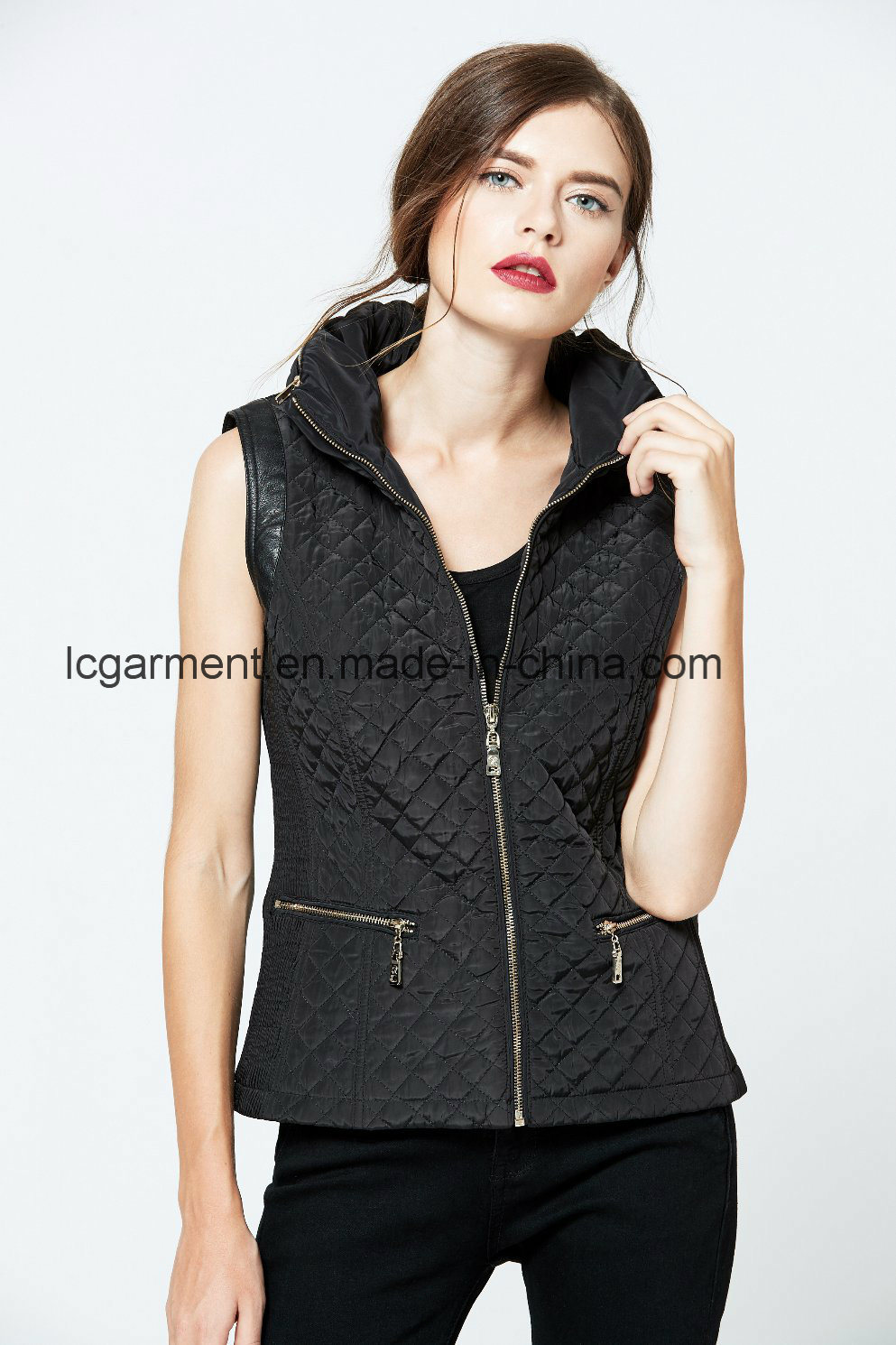 Hot Products Latest Design Fashion Zipper Leather Vest Ladies Waistcoat