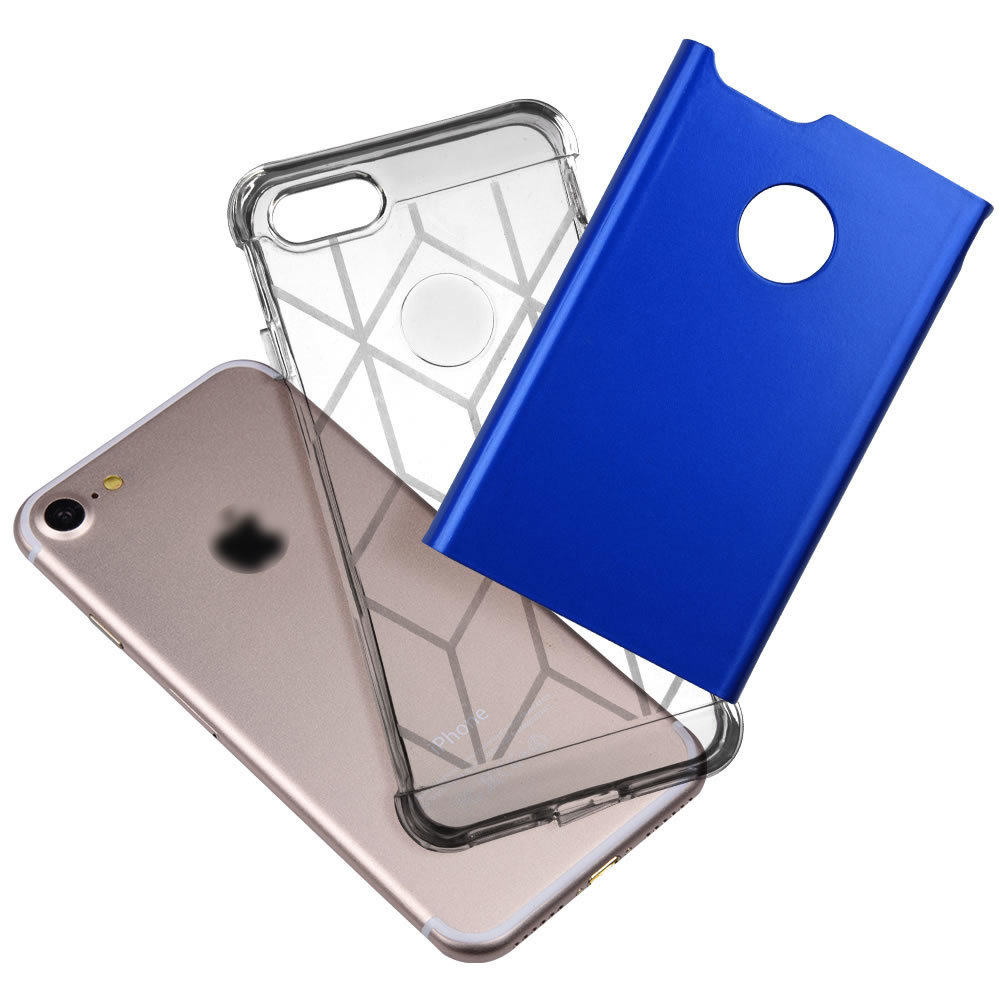 Soft Interior TPU Bumper + Hard Shell PC Back Hybrid Dual-Layer Slim Fit Cover Case for iPhone 7