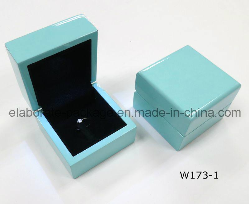 Pure Blue Exquisite Wooden Box Handmde Jewelry Storage Case