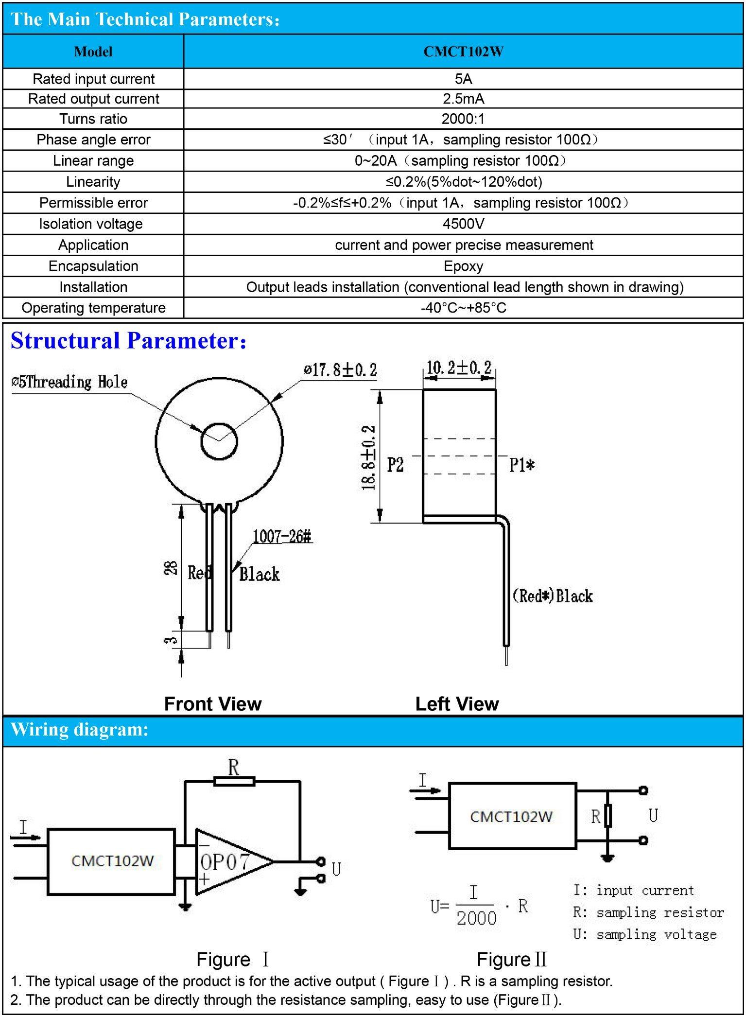 Ultramicro Current Transformer 5A/2.5mA PCB Mounting