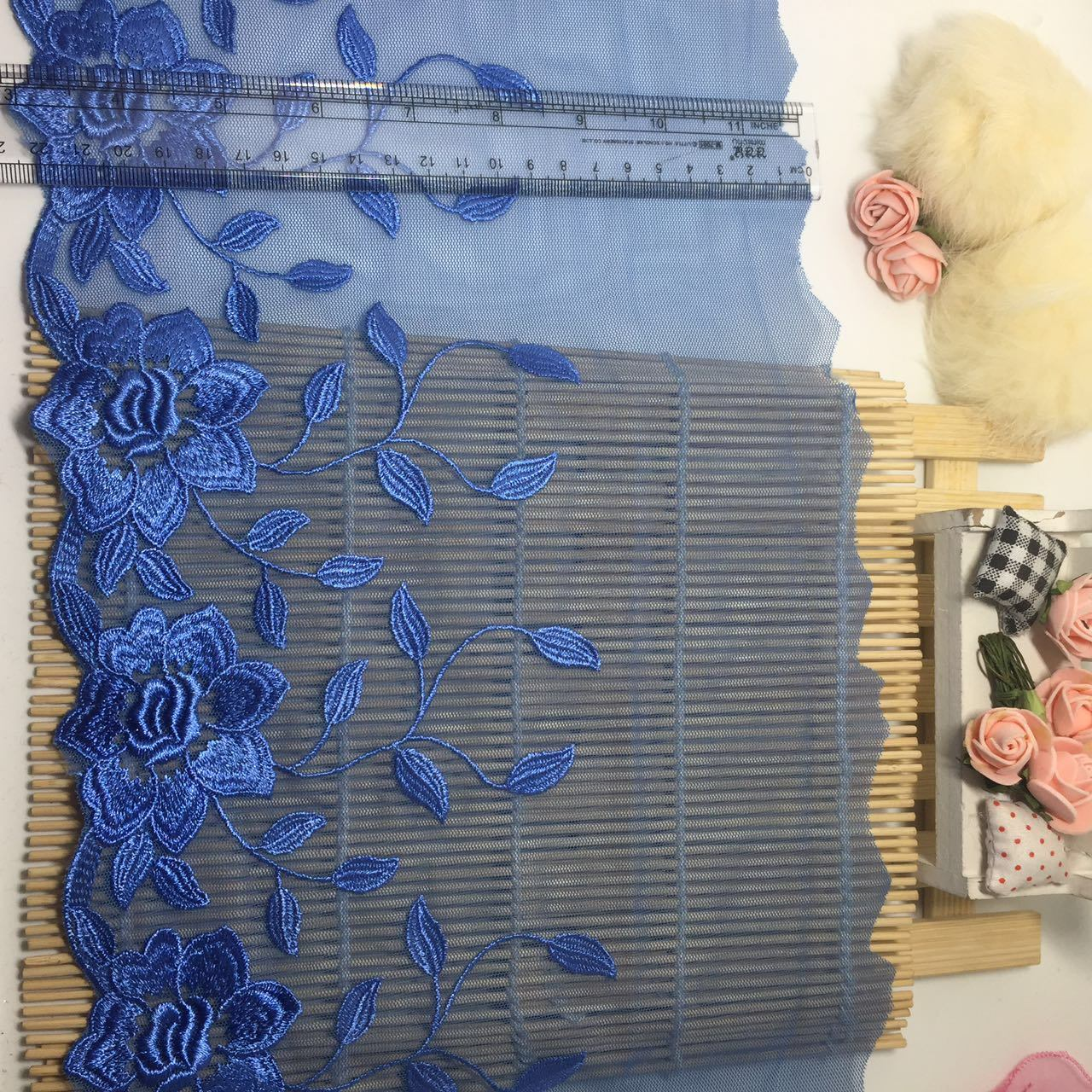 Wedding Doll Dress Accessories Apparel Fabric Wholesale 19cm Width Embroidery Organza Bridal Mesh Lace for Women Underwear Garments & Home Textiles & Beddings