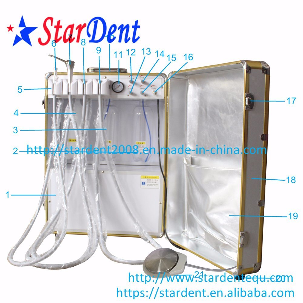 Ce and FDA Approved Portable Dental Unit with Air Compressor Chair